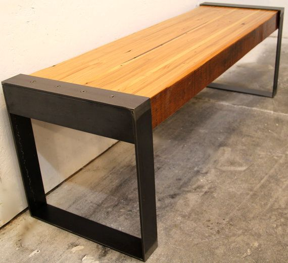 WesternDrift Reclaimed Wood Bench by ModernDrift on Etsy, $595.00