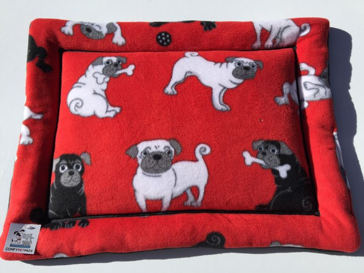 Red Dog Bed, Pug Fabric, Small Dog Bed, Dog Kennel Cover, Crate Liner, Pug Gift, I Love Pugs, Made in Colorado, Pug Life, Carrier Pad by ComfyPetPads on Etsy