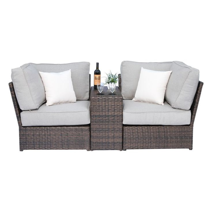 Outdoor Century Modern Lucca 3 Piece All-Weather Wicker Cup Table Love Seat Sectional Set - CM-4200