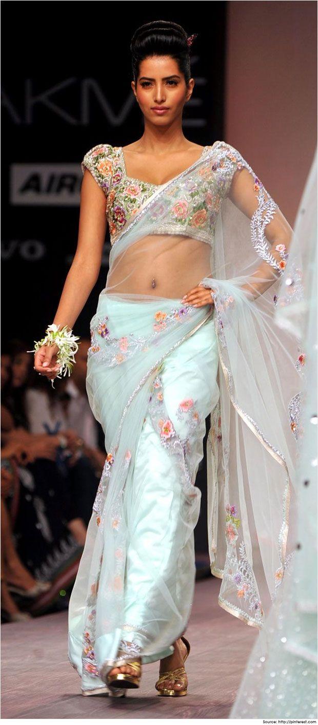 Vairabl Jaikishan design. ..vintage flowers. .. Trendy Blouse Designs for Net Sarees
