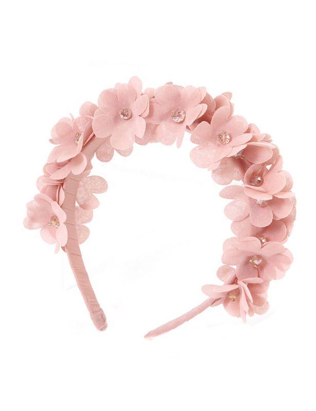 Camomilla Milano - diadema de flores rosas y apliques de cristal.