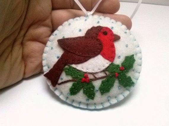 Sentía Robin pájaro ornamento adorno del pájaro de por DusiCrafts