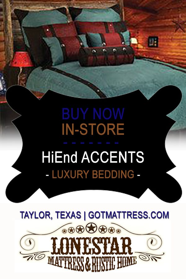 "This is a beautifully made bedroom comforter set made by HiEnd Accents. --------------We are a Factory Direct Dealers for ""HiEND ACCENTS"", bedding and accessories, here are some pictures of a few examples. They have exceptional quality and specialize in western & southwestern bedding & accessories. We'll beat anybody's pricing, especially with a mattress purchase. We are located at: 4105 W. 2nd Street HWY 79, Suite D in Taylor, Texas. www.gotmattress.com"