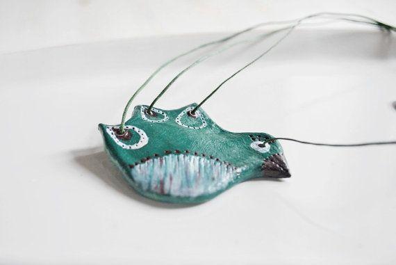 Bird necklace - animal pendant- - emerald green-wood clay - OOAK- eco friendly- cute