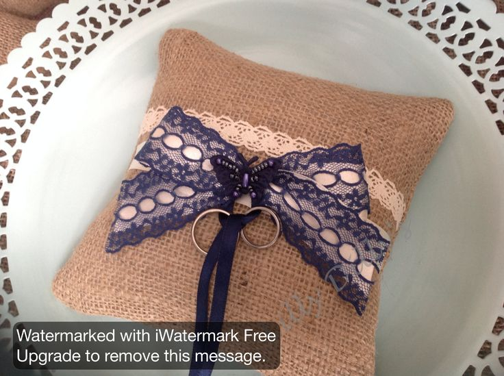 Handmade bespoke ring cushion from Lilly Dilly's  #wedding #hessian #lace #bow #bespoke #rings #usher #pageboy #navy blue