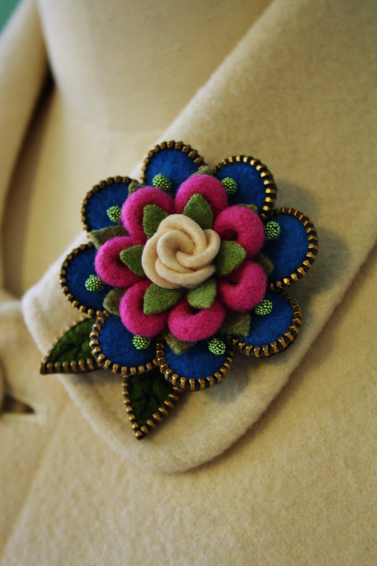 Felt and zipper flower brooch purple by woollyfabulous on Etsy