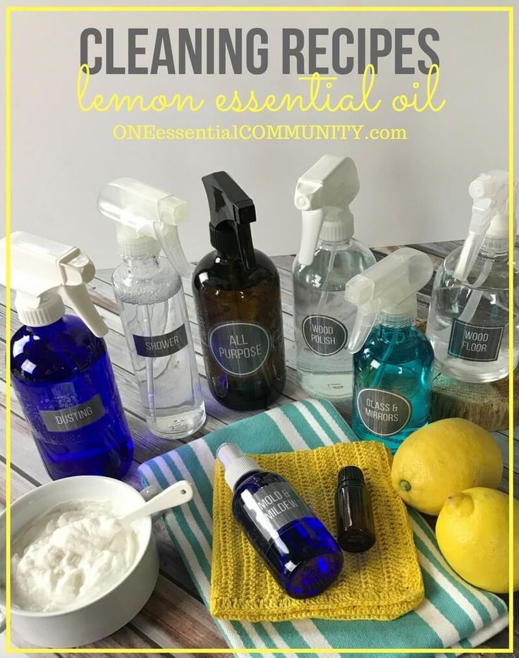 8 super simple (and effective) DIY recipes for cleaning with lemon essential oil (mold & mildew, soft scrub, daily shower spray, window & mirror cleaner, dusting spray, wood polish, all-purpose cleaner, and wood floor cleaner) PLUS a free PRINTABLE with all the recipes!