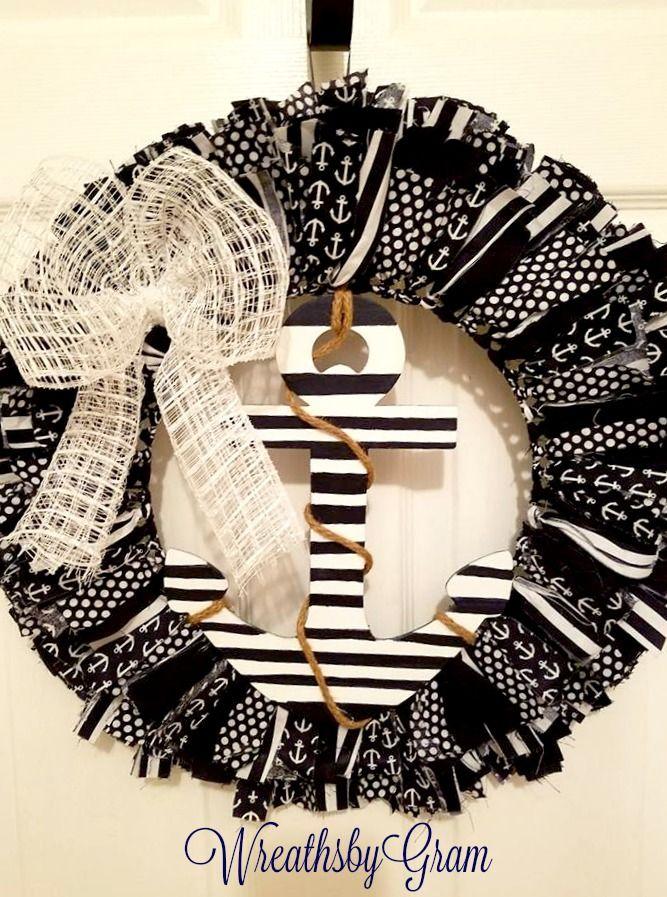 Nautical Rag Wreath | Nautical Wreath | Anchor Fabric Wreath | Beach Decor | Shabby Chic Wreath | Primitive Wreath | Cottage Style Decor | Coastal Decor | Nautical Anchor Wreath | Nautical theme | Nautical Wedding | Nautical Nursery | Nautical home decor | Nautical bathroom decor | Navy and White Decor | Farmhouse style | Christmas Gift Ideas #christmaspresents #nauticaldecor #wreaths