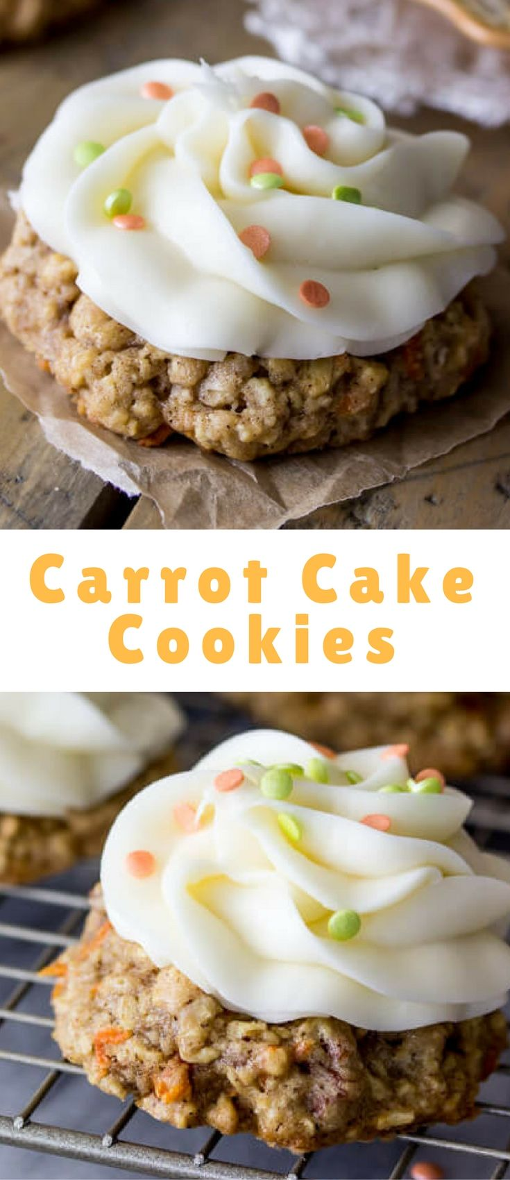 These carrot cake cookies are moist, oatmeal-based cookies that come together in a flash. They are topped with a generous topping of signature sweet cream cheese frosting (and sprinkles, if you're feeling festive). These bite-sized treats are much simpler than making a whole cake!