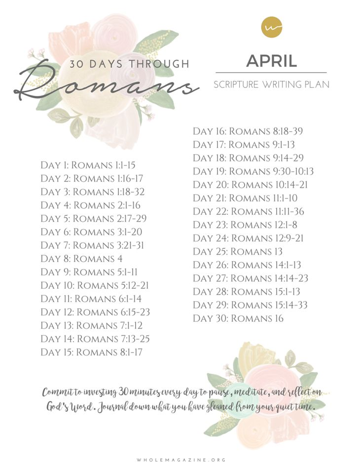April Scripture Writing Plan, April Reading Challenge, Read through Romans in 30 days.