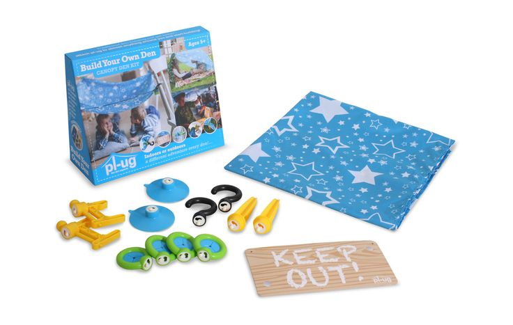 Canopy Kit The Canopy Kit contains all the key components you need to get started as well as a sheet for your canopy. The Canopy Kit also contains pegs so it is perfect for setting up a cubby or fort in the garden. The kit is suitable for use indoors and outside and will keep children entertained for ages, the only limit is their imagination.  Kit includes: 2 x clamps, 2 x hooks, 2 x suckers, 4 x grips, 1 x sign, 2 x pegs, 1 x sheet