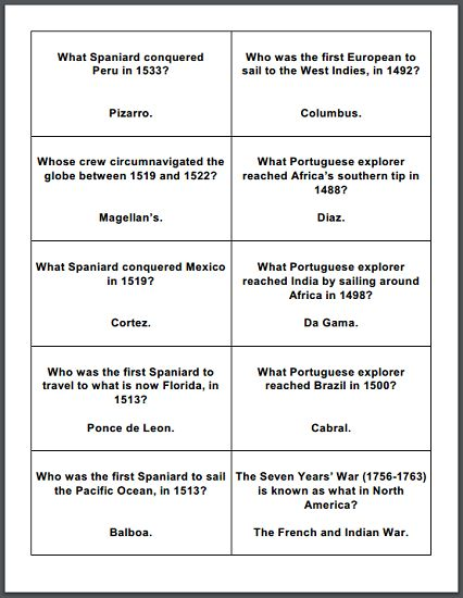 1152 best social studies images on pinterest history of the age of exploration printable flashcards free to print pdf file sciox Choice Image