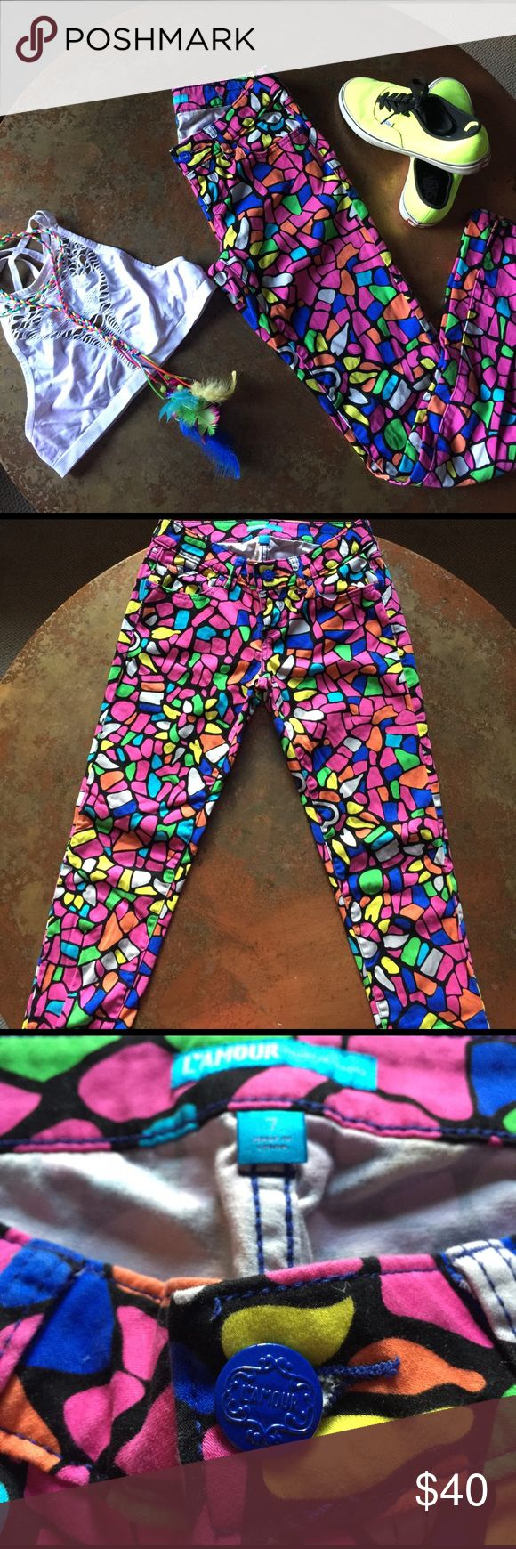 Stained Glass Jeans Black light reflective trippy stained glass pattern pants are so much fun to wear at Burning Man or Lightning in a Bottle. Denim as comfy as leggings! Two back pockets and two front allow you to easily store some goodies away. Pants Skinny
