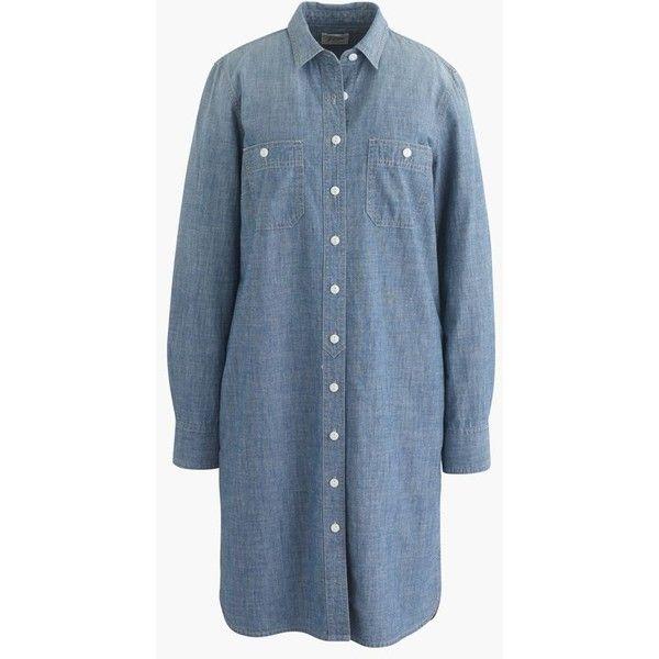 J.Crew Long-sleeve chambray shirtdress ($70) via Polyvore featuring dresses, petite, petite shirt dress, long shirt dress, long sleeve dresses, chambray dress and j crew dresses