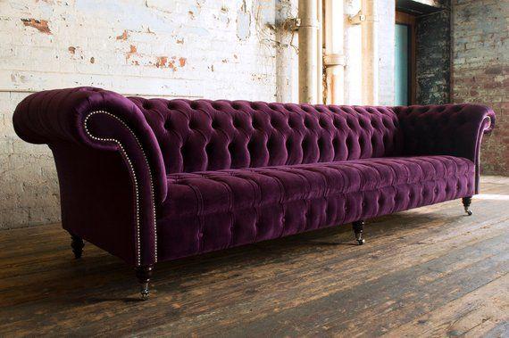 British Handmade Large 5 Seater Purple Velvet Chesterfield Etsy Purple Velvet Sofa Velvet Chesterfield Sofa Leather Sofa Furniture