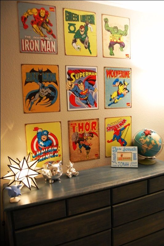 Superhero signs! Great for J's room, easy to change out when he gets older and decides he doesn't want superheroes up anymore! http://ebay.to/1MkkL4b