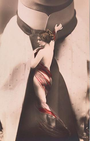 Artista desconocido, Mujer desnuda en la corbata del hombre, Publisher: GG Empresa Gerlach & Martin Gerlach, Jr., 1911, el Fondo de fotografía del siglo XX.