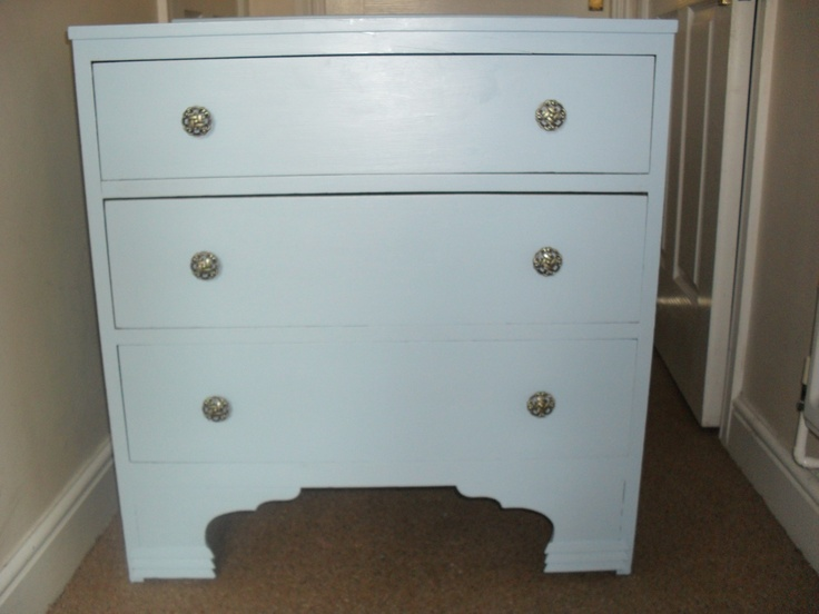 This was a tired, scratched, dark stained, wood dresser.chest of drawers . A couple of layers of paint and some new knobs off ebay later way more liveable.