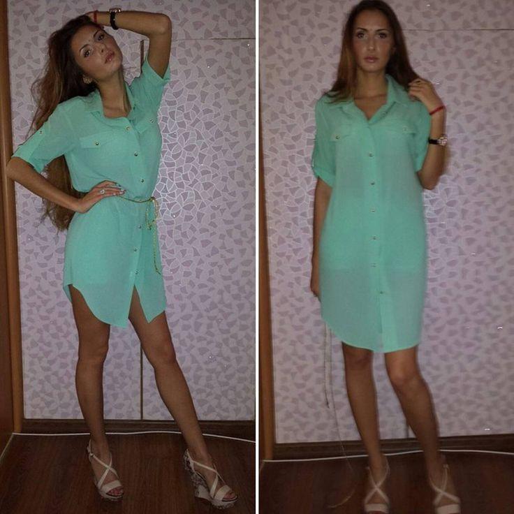 29 отметок «Нравится», 2 комментариев — Anzhelina Zakharchuk (@anzhelinaz) в Instagram: «Платье 👗 рубашка из мятного стрейтч шифона с золотыми пуговками (желание клиента)  для мой…»