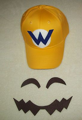 "Super Mario WARIO Costume Face Pieces & Hat w/ Letter ""W"" Emblem"