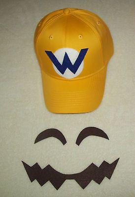 "Super Mario WARIO Costume Face Pieces & Hat w/ Letter ""W"" Emblem"