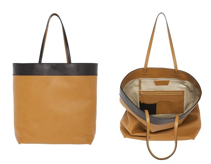 Tillander by Aki Choklat, BROOKE shopper, tote, leather, black, nougat brown, Made in Italy