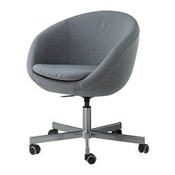 IKEA - SKRUVSTA, Swivel chair, Vissle grey,  , , You sit comfortably since the chair is adjustable in height.The castors are rubber coated to run smoothly on any type of floor.