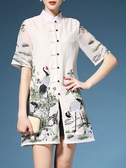 Embroidered Cheongsam Mini Dress