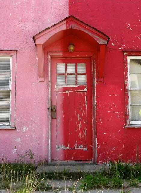 Door at old motel seen in Broadwater,Nebraska