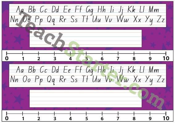 Lower Grade Desk Plate - Stars - Purple | Teach Starter - Teaching Resources