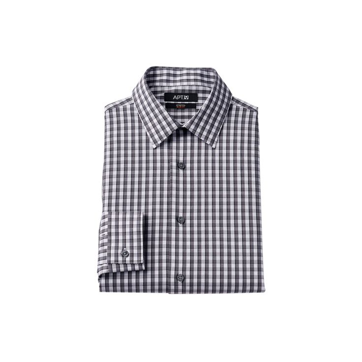 Men's Apt. 9® Extra-Slim Fit Gingham-Checked Stretch Dress Shirt, Size: 15.5-32/33, Grey