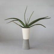 SC20 CERAMIC+CONCRETE VASE+POT ↔12.0cm↑33.5cm.  White matte ceramic + grey matte concrete vase + pot. High quality handmade objects Designed+Made by Decovery | Essential Details.18.99€ + VAT retail price. EU delivery.