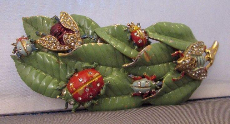 Vintage 1940's Enamel Ladybug Insect on Leaf Pin Brooch Rhinestone BEST Figural ...
