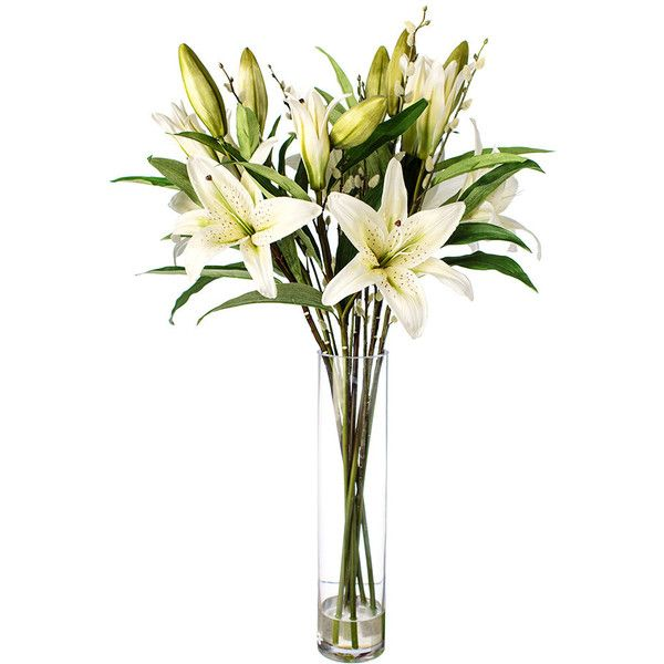 Paper Whites Tall Lily in Glass Vase ($170) ❤ liked on Polyvore featuring home, home decor, floral decor, faux flowers, artificial flower arrangement, fabric flowers, fake flower centerpieces and white flower centerpieces