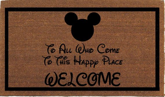 Disney Quote Mickey Mouse Door Mat - Coir Doormat Rug, 24 Inches x 35 Inches Welcome Outdoor Mat, Housewarming Gift, Hand Painted By Me