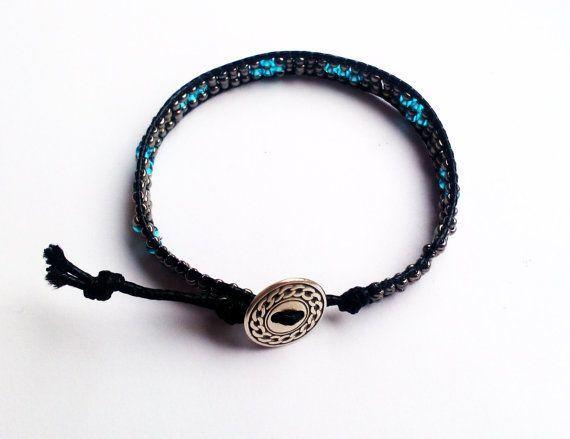Chan Luu Inspired Delicate Bracelet Silver Bracelet Tiny Bracelet  Black Bracelet Bead Wrapped Hemp Triple Wrap Bracelet