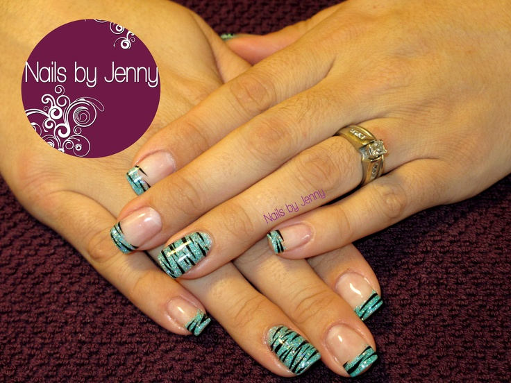Gel Nails - Teal Glitter Tips and Zebra Stripes