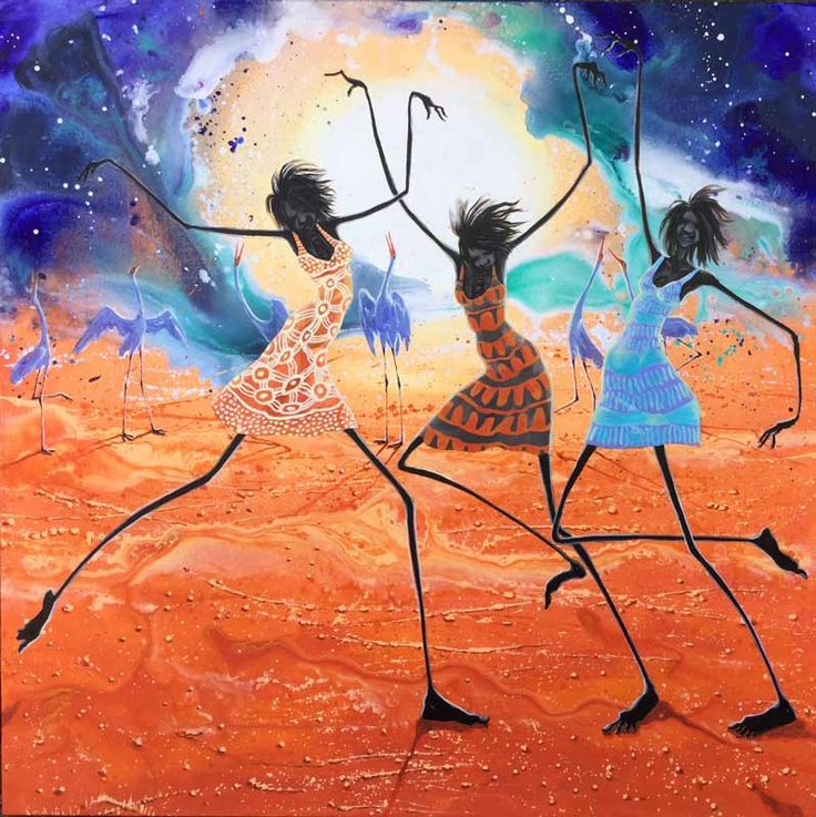 Judy Prosser - Dancers Under a Desert Moon - Acrylic on Canvas Painting - Orange - Girls Dancing - Moonlight