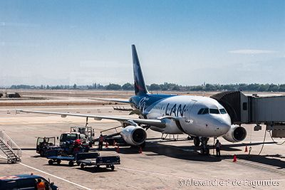LAN Airplane in Santiago do Chile airport