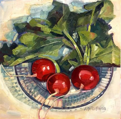 """Daily Paintworks - """"Three Radishes"""" - Original Fine Art for Sale - © Kathleen Gray Farthing"""
