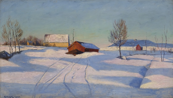 Arne Kavli (1878 – 1970): Winter landscape with farm, 1895