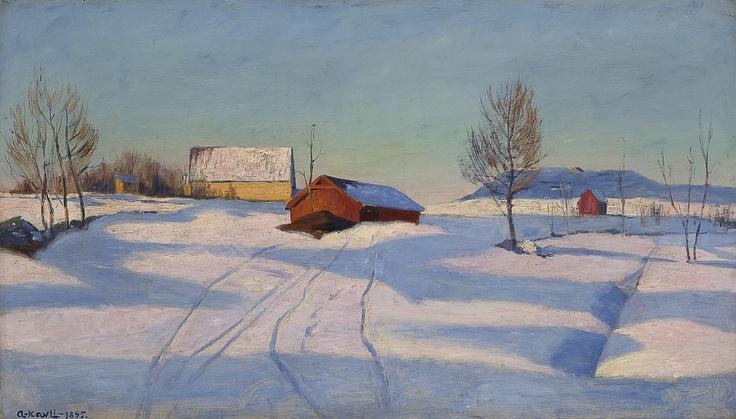 Arne Kavli (1878 – 1970): Winter landscape with farm, 1895