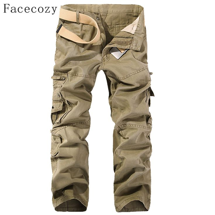 Facecozy Men Autumn Windproof Outdoor Pant Male Trekking Sports Trouser With Multi-Pockets Plus Size