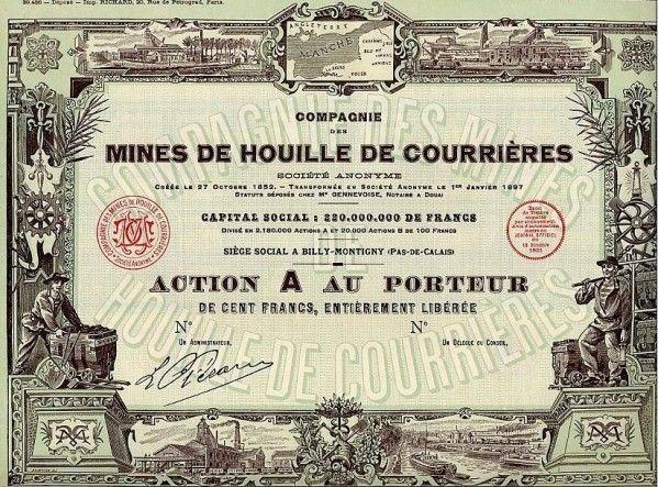 Action des mines de Courrières.
