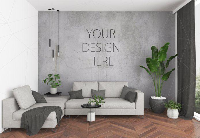 Interior Mockup Bundle Blank Wall Mock Up 85460 Mockups Design Bundles In 2021 Lounge Interiors Design Blank Walls