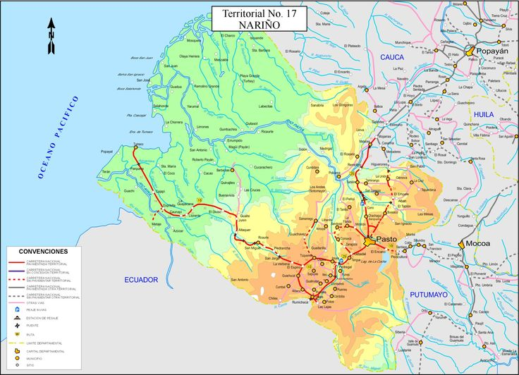 MAPA DEL DEPARTAMENTO DE NARIÑO, COLOMBIA. narino.jpg (1833×1327)