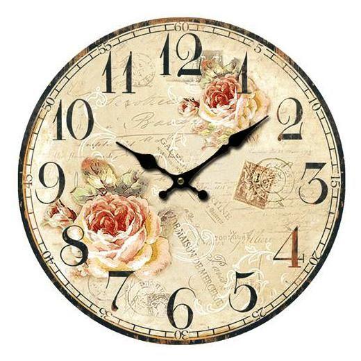 Nástěnné hodiny s oranžovými růžemi