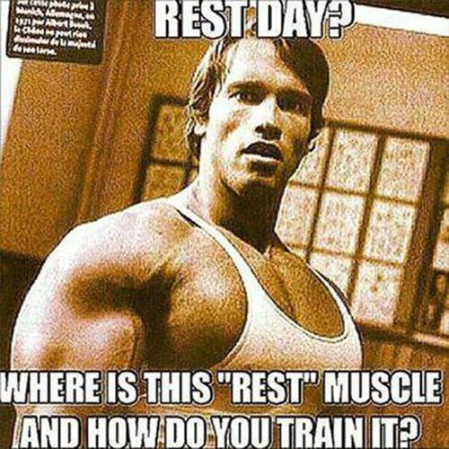 "Fitness Humor #78: Rest Day? Where is this ""rest"" muscle, and how do you train it. - Arnold Schwarzenegger"