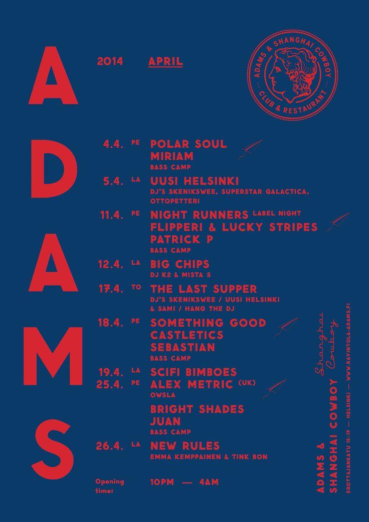 ADAMS Club & Restaurant website. Design: Tony Eräpuro #poster #music #promotion #graphicdesign #club