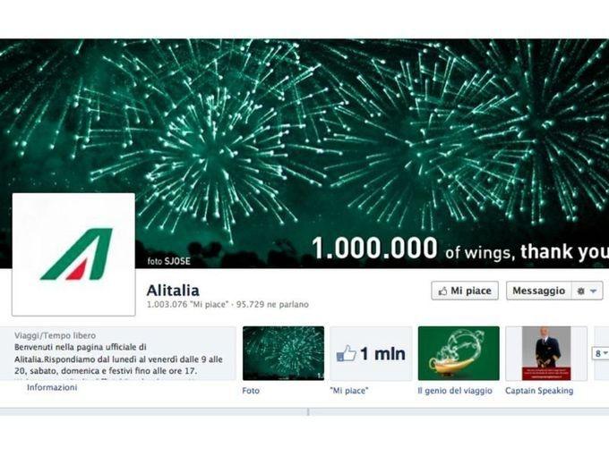 Alitalia raggiunge il milione di fan su Facebook: sui canali social attività di branding, customer care e e-commerce